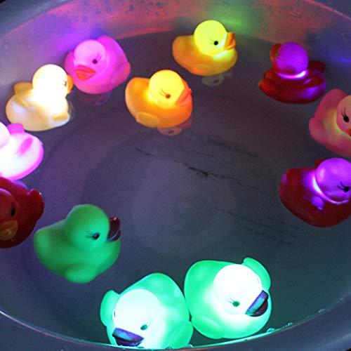 About1988 LED leuchten Enten Badespielzeug, Kinder Lichter Badewanne Wasserdicht Bunten Badezimmer LED-Leuchten Spielzeug Floating, Schwimmendes Badewannentierchen Bad Spielzeug Set (Gelb)
