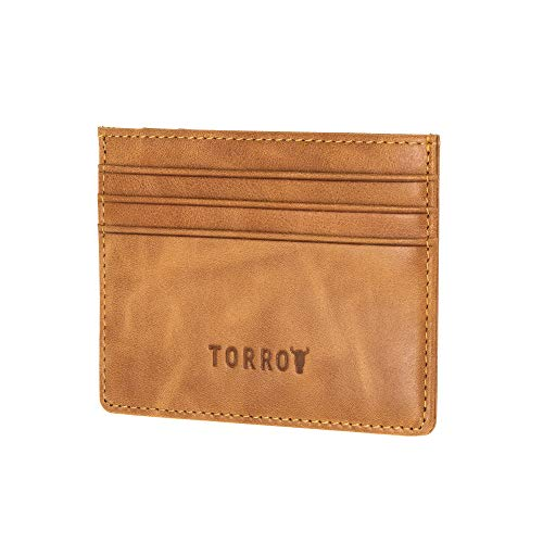 TORRO Porta Carta Di Credito E Biglietto Da Visita In Vera Pelle (Marrone Chiaro)