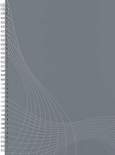 AVERY Zweckform 7012 Notizbuch notizio (A4, Papier-Cover, Doppelspirale, liniert, 90 g/m², 80 Seiten mikroperforiert, Notizblock mit versetzbarem Lesezeichenlineal und Universal-Lochung) hellgrau