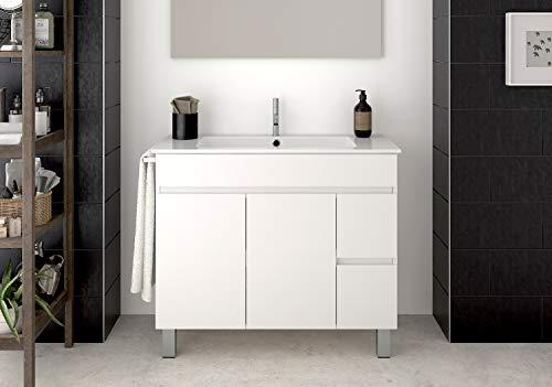 DUCHA.ES Mueble DE BAÑO con Lavabo ENCIMERA TOALLERO Moderno Medidas (100CM, Blanco)