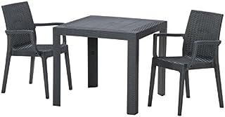 【ガーデンテーブル チェア セット ラタン調 庭】ステラテーブル・チェア(肘つき)3点セット ブラック(C187-3B-S1)