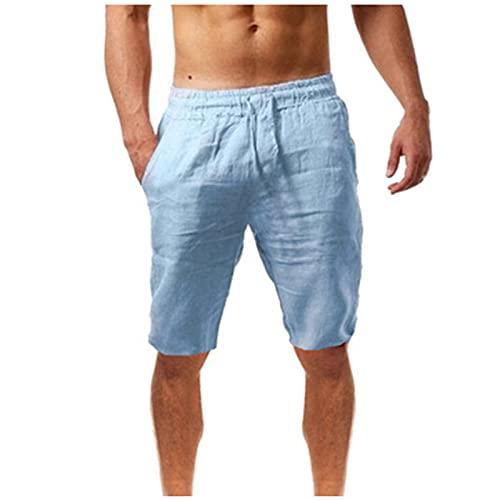 Fishoneion Men's Summer Cotton Linen Lounge Shorts Drawstring Shorts Casual Beach Shorts Blue