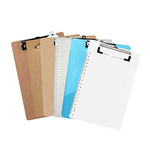 6 Arten A4 Letter Size Zwischenablage mit versteckten hängenden Löchern, glatten, abgerundeten Ecken, ohne Grate - für Lernprojekte im Freien, Krankenhausunterlagen, tägliche Büroarbeit