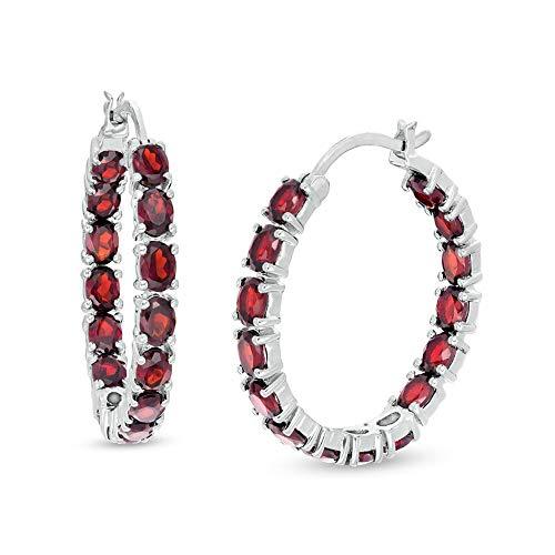 Ani's Pendientes de aro con diamante granate de corte ovalado para mujeres y niñas en plata de ley 925