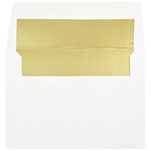 JAM PAPER A6 Foil Lined Invitation Envelopes - 4 3/4 x 6 1/2 - White with Gold Foil - 25/Pack