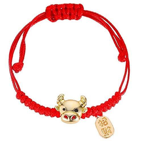 Froiny 1 Unid Chino Zodiaco Ox Pulsera Roja para Mujeres Brazalete Animal Amuleto Amuleto Regalo Hecho a Mano Joyería Afortunada