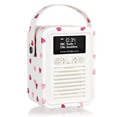 VQ Retro Mini - Radio digital DAB & DAB+, diseño Emma Bridgewater Corazones Rosas