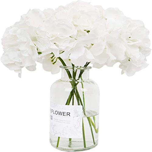 YYHMKB Flores Artificiales 10 Unids Hortensias Artificiales Flor Flores Falsas Toque Real Ramo de Boda Nupcial Flores de Imitación para Fiesta en Casa Hotel Oficina Blanco