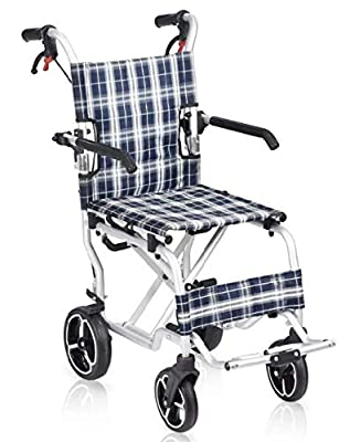 """Wheelchair Transport Aluminum 19"""" Folding W/Swingaway Legrest and Carrying Bag (only 18 lbs) by Healthline from Healthline Trading"""