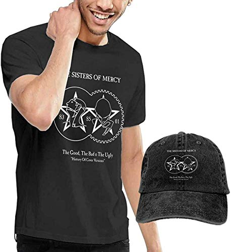 PvezTFi Mans The Sisters of Mercy Fashion Music Band T-Shirts kaufen T-Shirt Get One Hat Free Black Gr. M, Schwarz