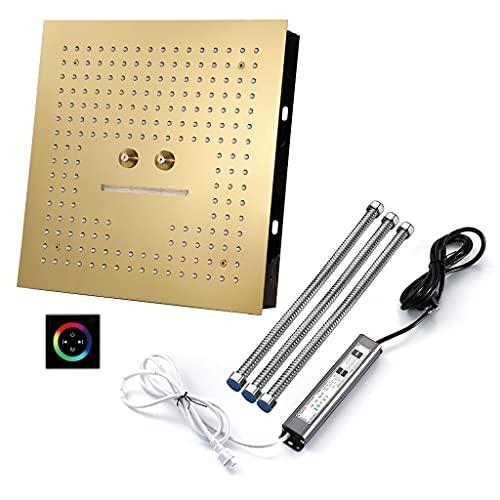 Cromo Sistema de Ducha, Juego de Ducha de baño con Cabezal de Ducha de 3 Funciones 64 Colores y música Bluetooth, Mando a Distancia para Luces de Colores Juego de grifería de Ducha (Color : Gold3)