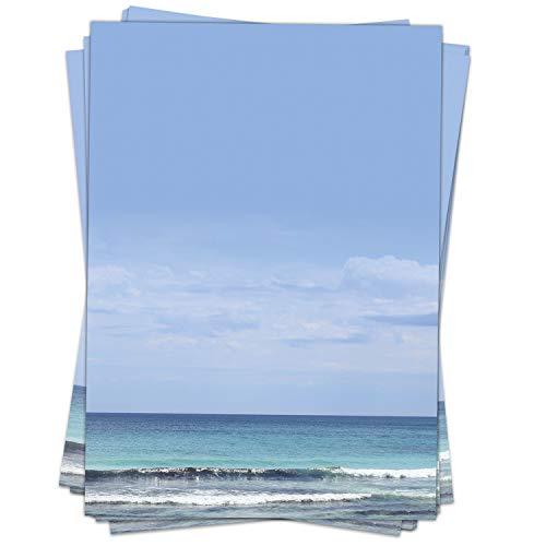 50 Blatt Briefpapier (A4) | Wunderbares Meer | Motivpapier | edles Design Papier | beidseitig bedruckt | Bastelpapier | 90 g/m²