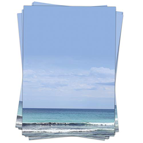 Briefpapier Motiv WUNDERBARES MEER mit viel Blau - 50 Blatt, DIN A4 Format - Papier beidseitig bedruckt