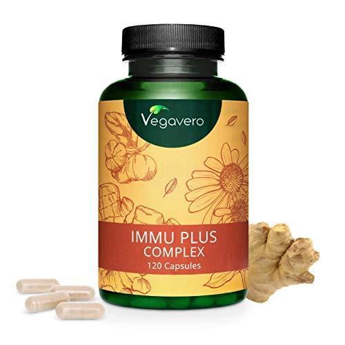 VEGAVERO® Immunsystem Komplex | 100% NATÜRLICH | Echinacea + Ingwer + Vitamin D3 + C + Zink + Selen | Vegan | Umfangreich Laborgeprüft | Immunsystem stärken* | Ohne Zusatzstoffe | 120 Kapseln