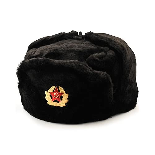 93af37cea39 Russian Soviet winter hat Ushanka with military removable badge size (XL) 62 7  3 4 Black at Amazon Men s Clothing store  Other Products