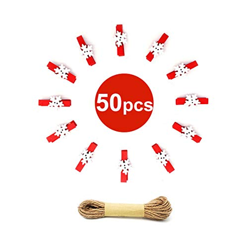 50PCS Christmas Wooden Clothespins, Mini Snowflake Photo Clips, Mini Wooden Pegs with 10 Meters Jute Twine for Hanging Christmas Cards Photo Paper Crafts