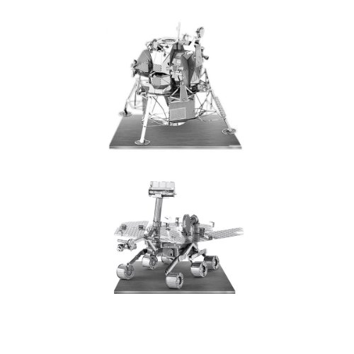 Metal Earth 3D Laser Models Spacecraft Set of 2 - Mars Rover, Apollo Lunar...