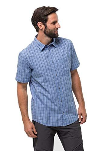 Jack Wolfskin Camisa Hot Springs para Hombre, Hombre, Camisa, 1402332, Camiseta de Cuadros Azules, Small