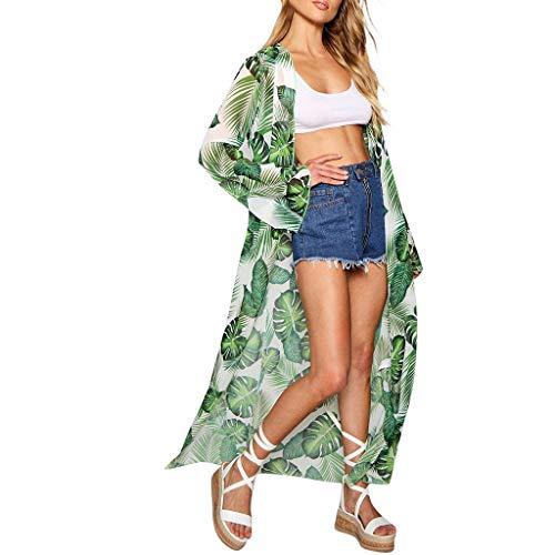 MRULIC Damen Florale Kimono Cardigan Boho Chiffon Sommerkleid Beach Cover up Leicht Tuch für die Sommermonate am Strand oder See (M, Z7-Grün)