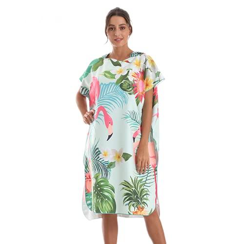 sochampion Playa Toalla De Playa Cabo con Capucha Capucha Unisex Toalla Impresa Quickdrying Beach Cloak Haprobe Flamingo con Fondo Verde 80cm X 115cm