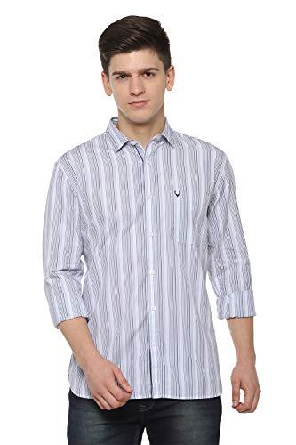 Allen Solly Men's Striped Slim fit Casual Shirt (ASSFWSPFO93160_White 40)