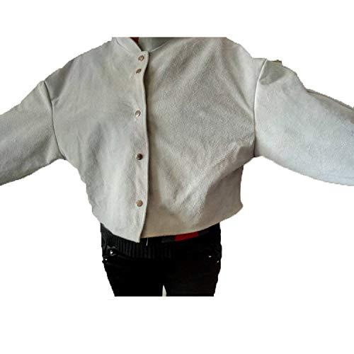LAIABOR Flammhemmende Schweißerschürze Arbeitskleidung Schutzkleidung feuerfest Mantel Schutzkleidung Leder Rindsleder,White