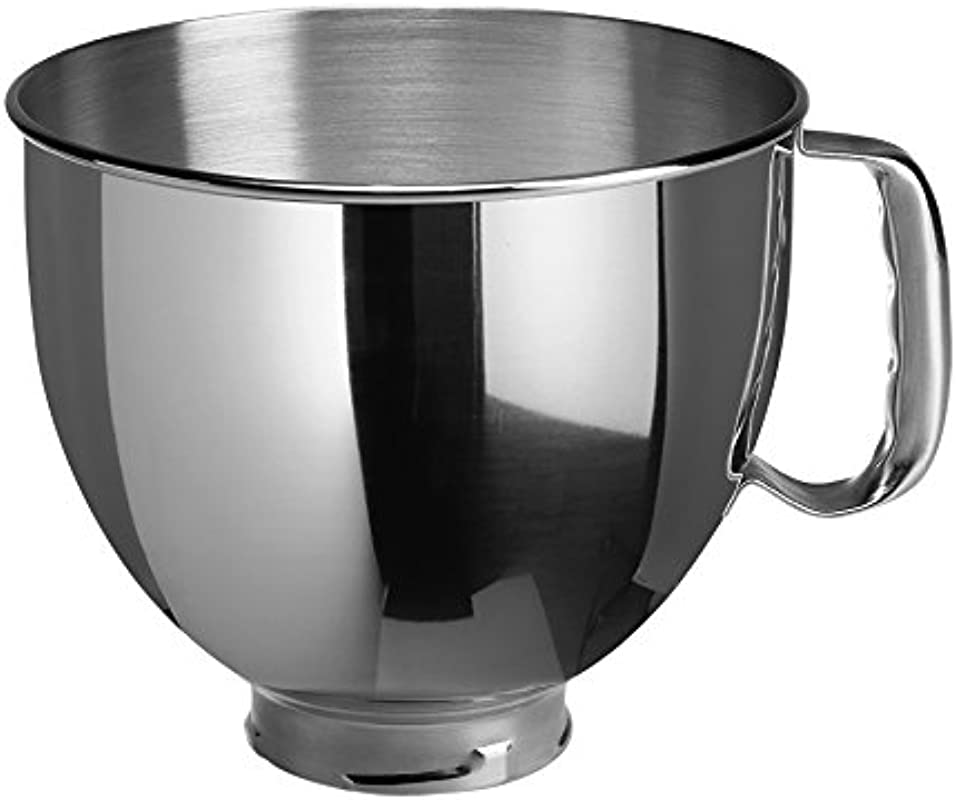KitchenAid K5THSBP Tilt Head Mixer Bowl With Handle Polished Stainless Steel Polished Stainless Steel 5 Quart