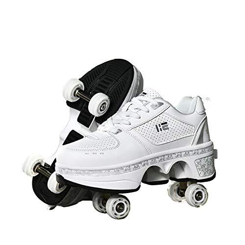 KUXUAN Rollschuhe Schuhe,Multifunktionale Deformation Schuhe Quad Skate Rollschuhe Skating Outdoor Sportschuhe Für Erwachsene/Madchen/Jungen/Kinder,White-EU34/UK1.5