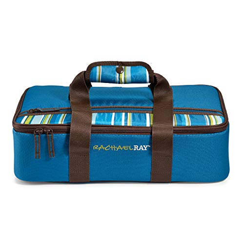 Rachael Ray Lasagna Lugger, Insulated Casserole Carrier for Parties, Fits 9'x13' Baking Dish, Marine Blue Stripes