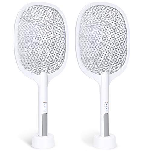 Bug Zapper, 3000Volt Indoor & Outdoor Electric Fly Swatter, Rechargeable Mosquito Killer Racket for Home, Bedroom, Kitchen, Office, Backyard, Patio (2 Packs)…