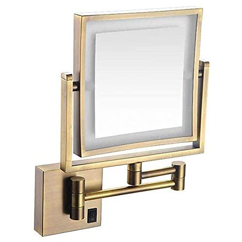 QAWSED Miroir De Maquillage Mené par Miroir De Dames, Miroir Cosmétique De Montage Mural Double Face Miroir De Salle De Bain À Grossissement 3 Fois Miroir Extensible De Maquillage