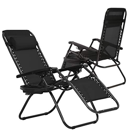 HCY Zero Gravity Chairs Outdoor Adjustable Recliner Chair Folding Lounge Patio Chairs with Cup Holder Pillows Set of 2 for Beach, Yard, Lawn, Camp(Black)