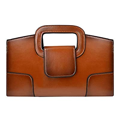 ZLMBAGUS Women Vintage Flap Tote Top Handle Satchel Handbags PU Leather Clutch Purse Casual Messenger Chain Shoulder Crossbody Bag Brown