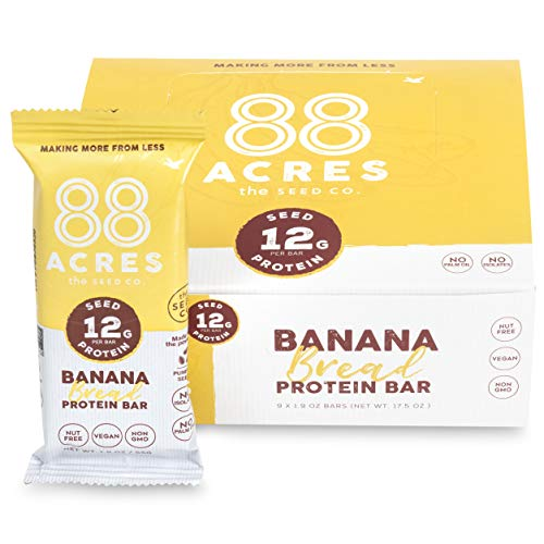 88 Acres Plant Based Seed Protein Bar | 9 Pack, Banana Bread | 12g of Plant Based Protein, Gluten Free, Nut Free, Non GMO, School Safe, No Palm Oil |