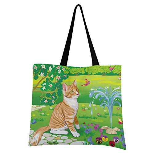 JinDoDo Canvas Bag Cat Butterfly Garden Reusable Tote Bag Canvas for Shopping Travel School