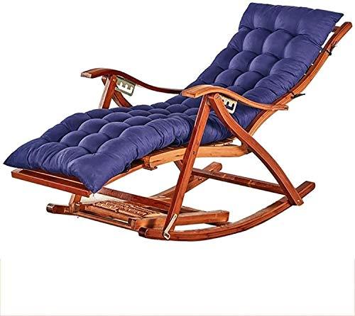 ALBN Sedia a Dondolo reclinabile con Poltrona da Cuscino, Pieghevole Confortevole Curved Showrest Salotto per Giardino Patio Sedie reclinabili Sdraio Soletto,Blu