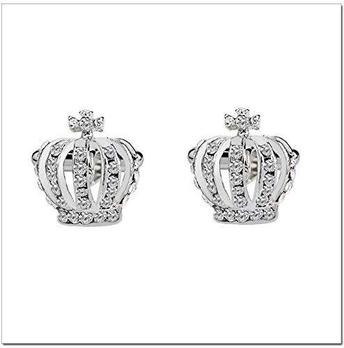 EEKLSJ 1 Pair Elegant Crystal Rhinestone Crown Cufflinks for Mens Women Shirt Wedding Party Cuff Links Gifts (Color : Silver)
