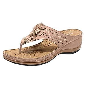 YWLINK Sandalias De CuñA para Mujer Ahuecar Flores Chanclas De Playa Bohemia Verano Sandalias Planas De Gran TamañO Zapatillas Antideslizantes(Rosado,43EU)