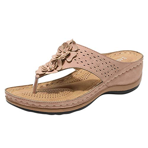 LATINDAY Wedges Sandals for Women, Women's Fashion Casual Floral Flip Flops Beach Sandals Shoes Outdoor Slippers Pink