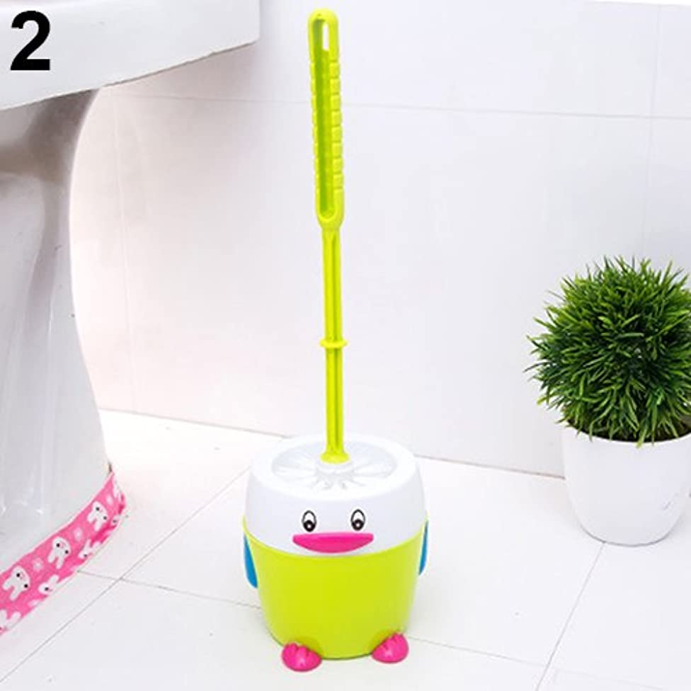 Holrea Plastic Bathroom Toilet Cleaning Brushes Cartoon Penguin Holder Non-Slip Handle Toilet Bowl Brush and Holder Set Bathroom Decorative Design Compact Bowl Scrubber Green