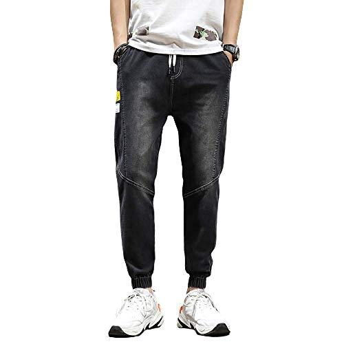 Pantalones Vaqueros para Hombre, Informales, Sueltos, de Gran tamaño, a la Moda, de Verano, elásticos Finos, Pantalones Vaqueros Deportivos Harlan con viga Medium