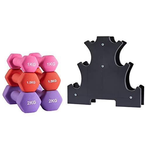 Albott Kurzhantel Set, Hexagon Kurzhanteln mit Hantelständer, 2 x 1 kg, 2 x 1.5 kg, 2 x 2 kg, Neopren-Beschichtung, Krafttraining, zu Hause