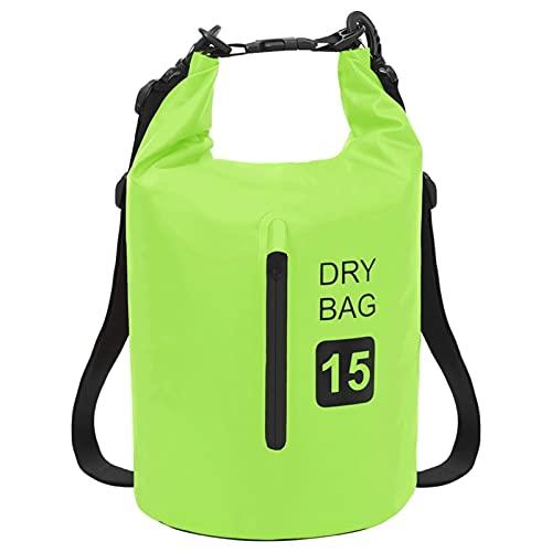 Tidyard Bolso Acuático Impermeable Mochila Saco con Cremallera Viajes Plegable Correas de Hombro Ajustables Ligero para Rafting Kayak Escalada PVC Verde 15 L