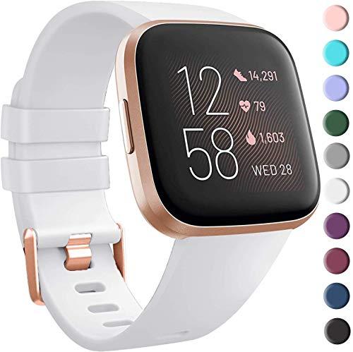 VIKATech Armband für Fitbit Versa/Versa 2/ Versa Lite, Klassisch Weiches TPU Sports Ersetzerband Verstellbares Zubehör Uhrenarmband für Fitbit Versa/Versa 2/ Versa Lite, Weiß, Klein