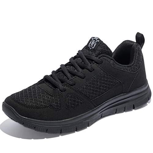 NewDenBer NDB Herren Leichtes Sneaker Sportschuhe Laufschuhe (43 EU, Schwarz (All Black))