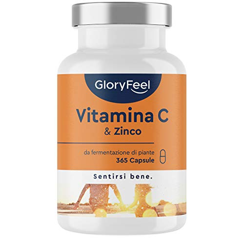 Integratore Vitamina C 1000 mg + Zinco 20mg, 365 Capsule Vegan, Integratore Difese Immunitarie, Vitamina C Delicata sullo Stomaco, Vitamin C Tamponata con Ascorbato di Calcio, Clinicamente Testato
