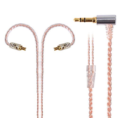 Kmrlim-FDBRO- 4 Core Oxygen Free Copper Earphone Wire Single Crystal Copper Earphones Detachable Cable with 3.5mm Plug A2DC Connector