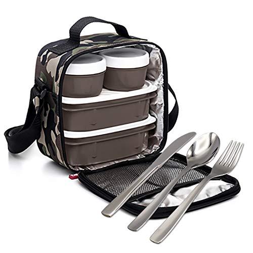 PracticFood Kit Urban Food con posate in acciaio inox 18/0 nichel free – Borsa termica porta alimenti con 4 scomparti ermetici Camouflage
