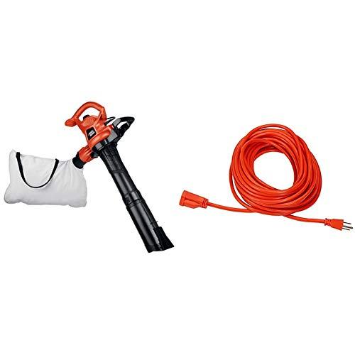 BLACK+DECKER 3-in-1 Electric Leaf Blower, Leaf Vacuum, Mulcher, 12-Amp (BV3600) & AmazonBasics 16/3 Vinyl Outdoor Extension Cord | Orange, 50-Foot