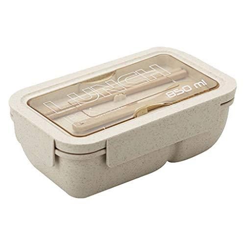 VNEIRW Weizen Stroh Bento Boxen Microwaveable Lunch Container Doppelschicht mit Deckel und Griff, Aufbewahrungsbox Lunchbox Mittagessen Box Geschirr mit Fächern, Löffel, Essstäbchen (Beige)